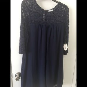 1X NWT AUW LACE TUNIC TOP